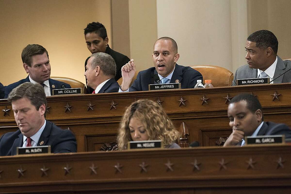Chair of the Democratic Caucus Rep. Hakeem Jeffries (D-NY) speaks during a House Judiciary Committee markup hearing on the articles of impeachment against U.S. President Donald Trump in the Longworth House Office Building on Capitol Hill Dec. 12, 2019 in Washington, D.C. The articles of impeachment charge Trump with abuse of power and obstruction of Congress. (Sarah Silbiger/Getty Images/TNS)