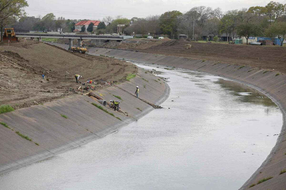 Work continues on Brays Bayou at Hillcroft Ave and Braeswood Blvd Monday, Feb. 25, 2019, in Houston.