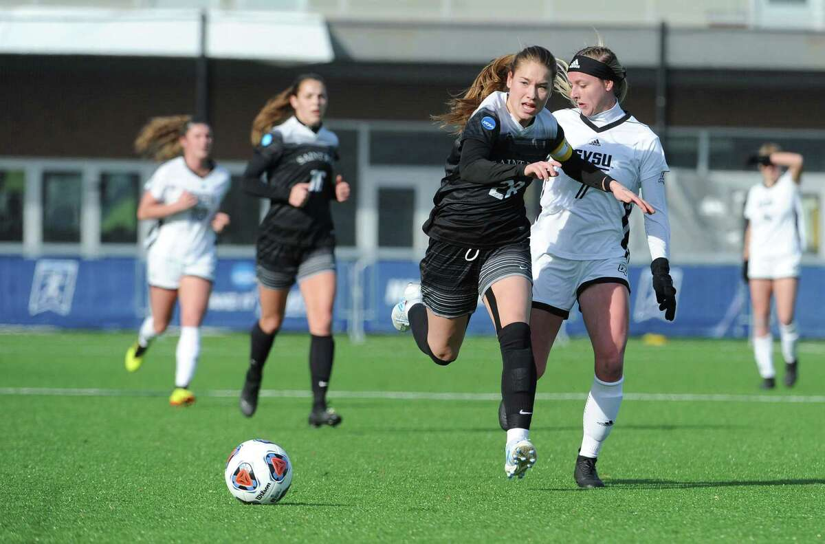 Saint Rose forward Nina Predanic goes for the ball during the first half against Grand Valley State in the DII Womena€™s Soccer semi-finals on Thursday, Dec. 12, 2019, at Highmark Stadium in Pittsburgh, Pa. Grand Valley defeated, Saint Rose 3-2. (Philip Pavely/ Special to the Times Union)