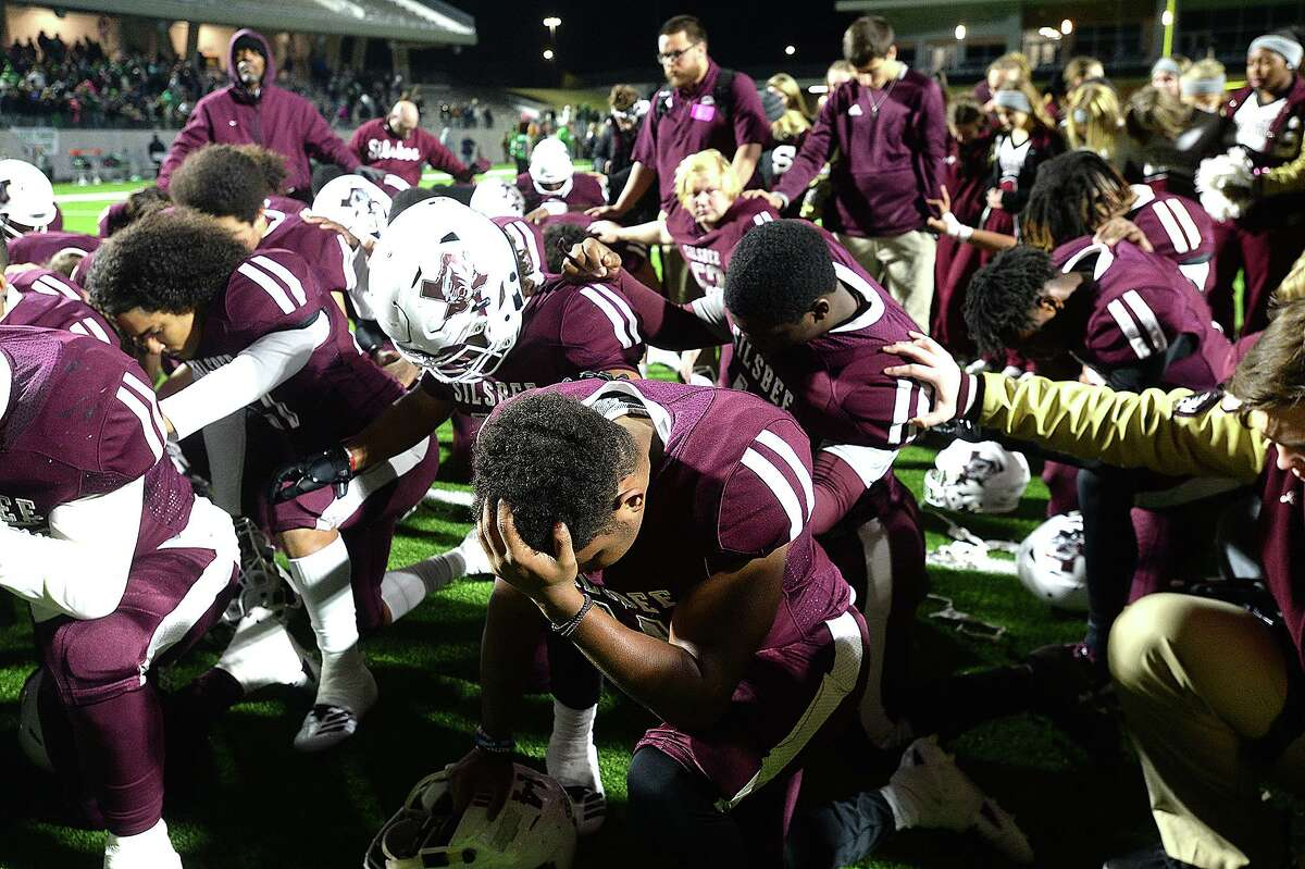 Silsbee reacts after falling to Cuero during the Class 4A Div. II state semifinals at Legacy Stadium. Photo taken Friday, December 14, 2018 Kim Brent/The Enterprise