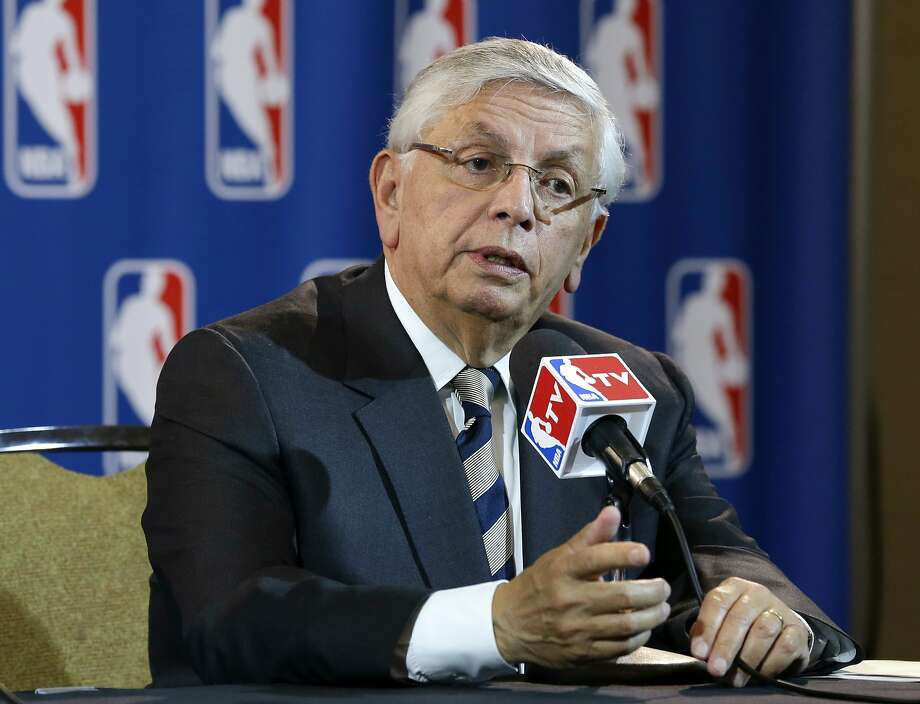 FILE - In this Wednesday, May 15, 2013 file photo, NBA Commissioner David Stern takes a question from a reporter during a news conference following an NBA Board of Governors meeting in Dallas. The NBA says former Commissioner David Stern suffered a sudden brain hemorrhage Thursday, Dec. 12, 2019 and underwent emergency surgery. The league says in a statement its thoughts and prayers are with the 77-year-old Stern's family.  (AP Photo/Tony Gutierrez, File) Photo: Tony Gutierrez / Associated Press 2013