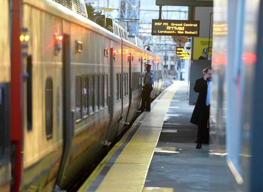Metro North commuter trains arrive and depart from the Stamford train station on Nov. 22, 2019 in Stamford, Connecticut. Photo: Matthew Brown / Hearst Connecticut Media / Stamford Advocate
