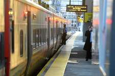 Metro North commuter trains arrive and depart from the Stamford train station on Nov. 22, 2019 in Stamford, Connecticut.