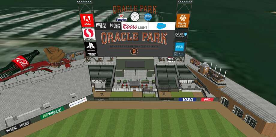 The SF Giants released new renderings of the new location of the pitcher bullpens at Oracle Park. Next season they will be located behind the centerfield fence. Photo: Courtesy SF Giants