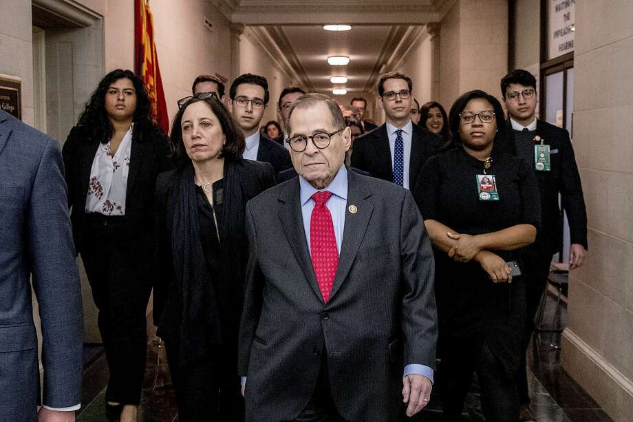 Chairman Jerrold Nadler, D-N.Y. leaves a House Judiciary Committee markup after passing both articles of impeachment, accusing President Donald Trump of abusing power and obstruction of Congress, Friday, Dec. 13, 2019, on Capitol Hill in Washington. (AP Photo/Andrew Harnik) Photo: Andrew Harnik, Associated Press