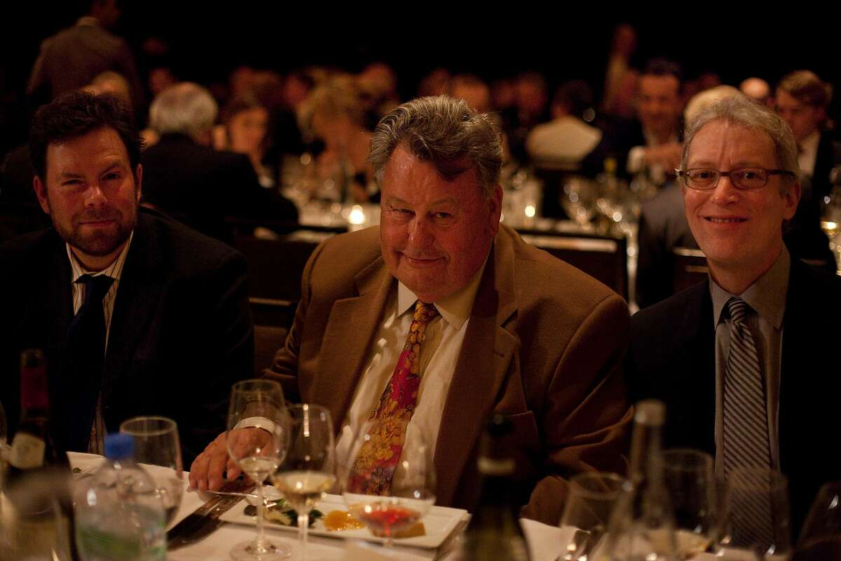 (From left to right) Eric Asimov, wine critic for the New York Times, Burt Williams, and Jordan MacKay are guests of La PaulŽe, a Burgundian celebration held at the end of the grape harvest, on Saturday, February 25, 2012 in San Francisco, Calif.