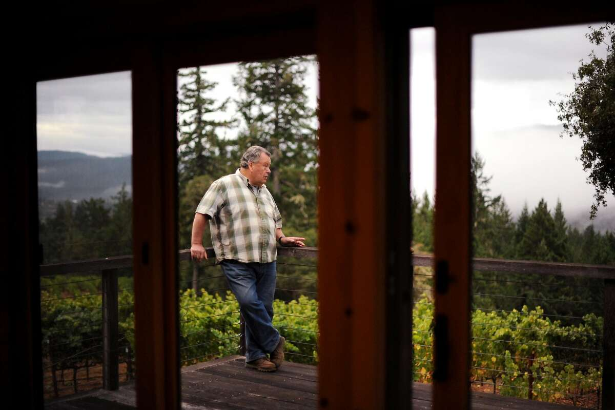 Burt Williams on his deck that overlooks his 12-acre Morning Dew vineyard in Philo, California in Anderson Valley. October 2, 2011