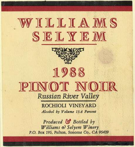 The Williams Selyem wine labels have remained virtually unchanged since the beginning. Here, a label for the 1988 Rochioli Vineyard Pinot Noir. Photo: Williams Selyem Winery