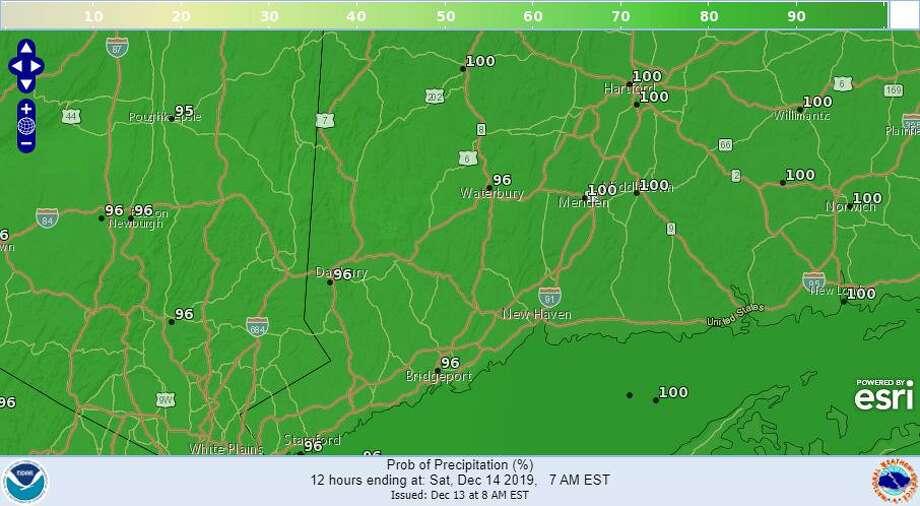 Precipitation probability map for Saturday Photo: National Weather Service