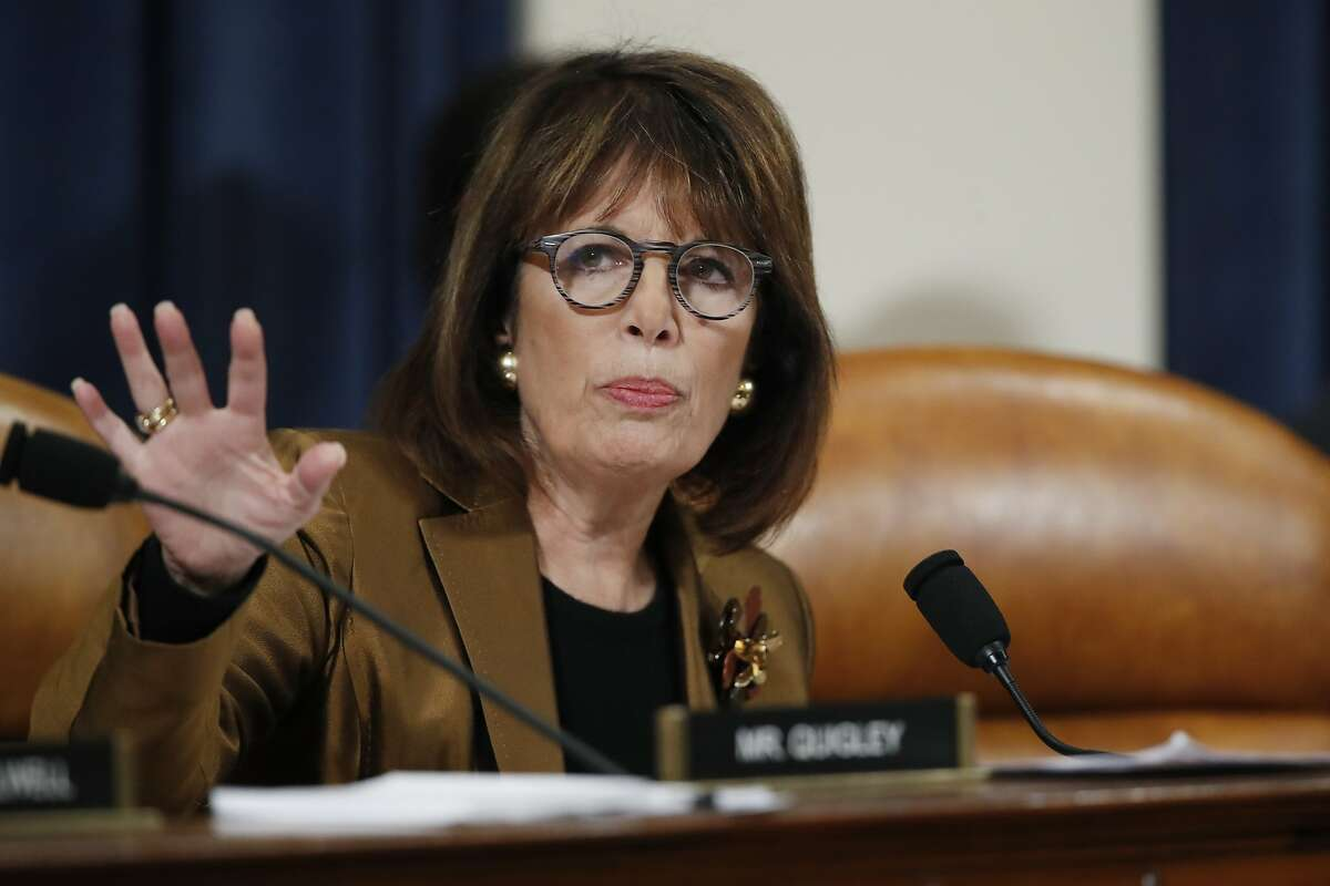 Rep. Jackie Speier, D-Calif, questions Ambassador Kurt Volker, former special envoy to Ukraine, and Tim Morrison, a former official at the National Security Council, as they testify before the House Intelligence Committee on Capitol Hill in Washington, Tuesday, Nov. 19, 2019, during a public impeachment hearing of President Donald Trump's efforts to tie U.S. aid for Ukraine to investigations of his political opponents. (AP Photo/Alex Brandon)