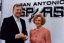 New Spurs owners, B.J. Red McCombs, wife Charline; San Antonio Spurs NBA basketball 1988