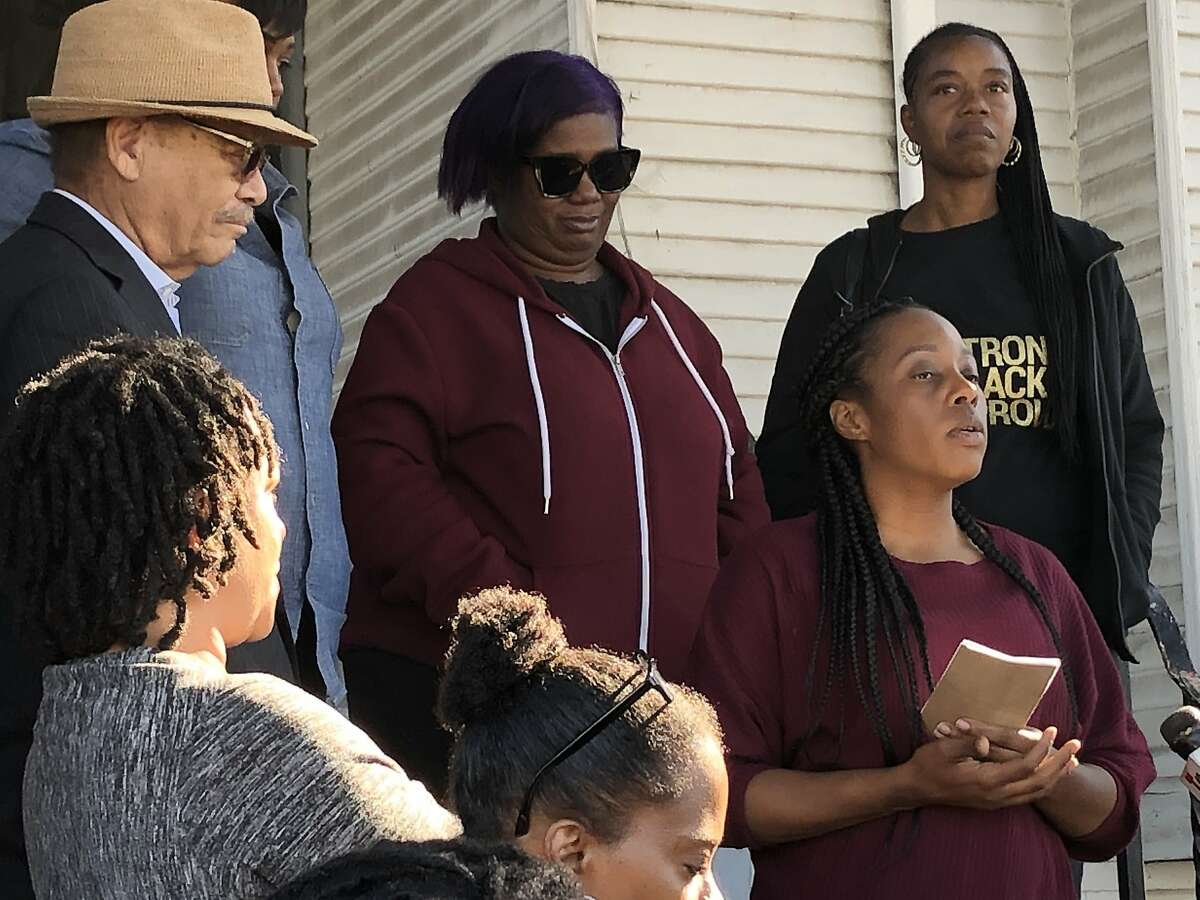 Moms 4 Housing, an Oakland-based organization of homeless mothers, with supporters and community members at a recent press conference outside of the Magnolia Street property some of their members moved into without authorization on November 18.