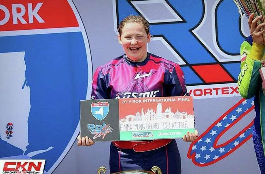 Emma DeLattre is nominated for top woman driver in kart racing in Vroom magazines 2019 awards. Photo: Contributed Photo / ROK Cup Superfinal / Wilton Bulletin Contributed