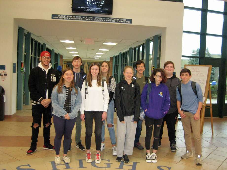 Staples High School has announced its students of the month for December. Back row, from left, Niko Diaz, Philip De Munck, Tatiana Bicalho, Noah Salpeter, Zachary Hyatt and Alexander Laskin. Front row: Maisie Dembski, Sara Cukier, Parker Pretty and Lynnea Moskowitz. Missing from picture are Kyle Nelson, Etoile Blaquier, Nicole Holmes and Zoe Kaye. Photo: Contributed Photo