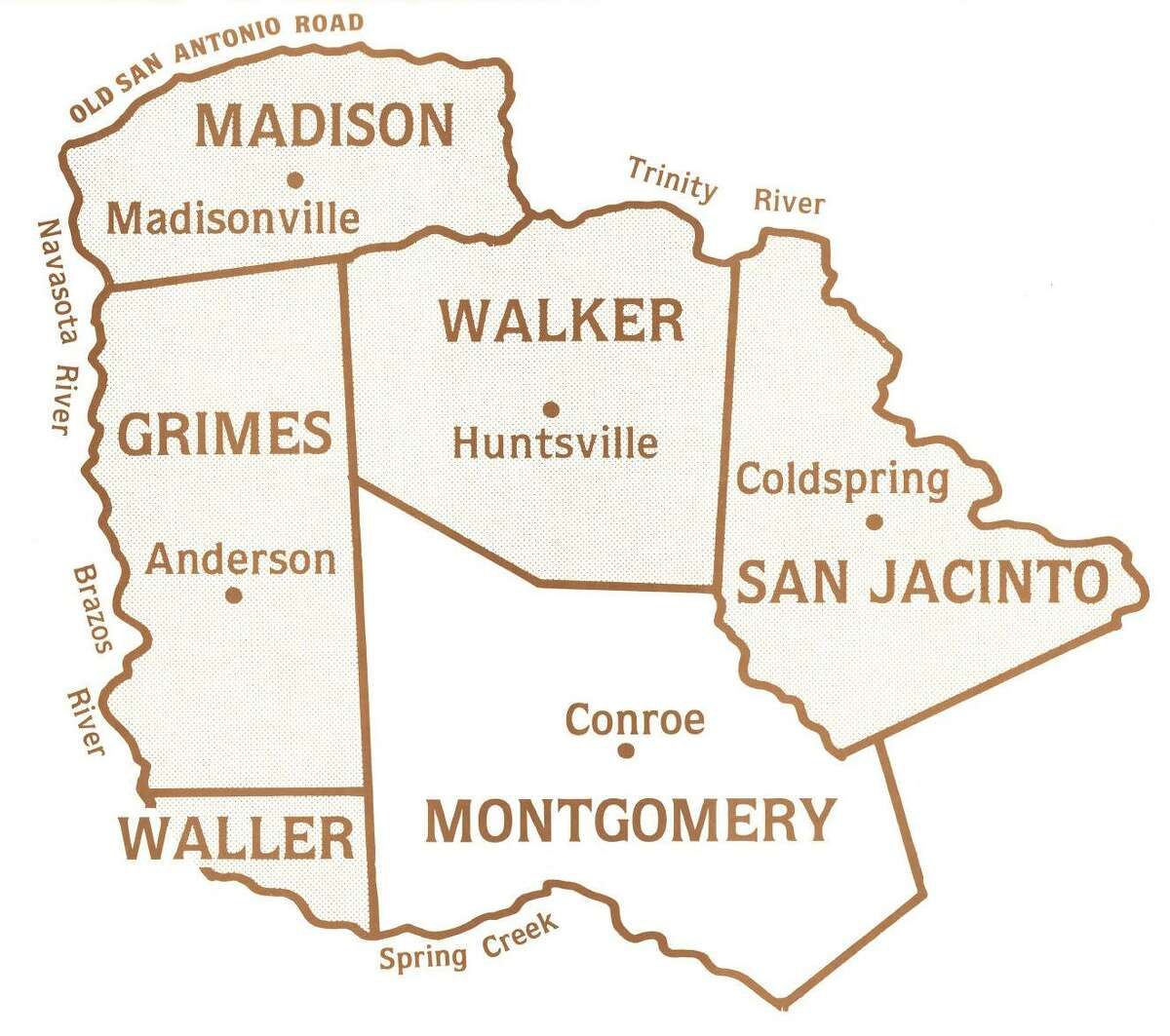 Original county boundaries of Montgomery County included Grimes, Walker, San Jacinto and a portion of Madison and Waller counties. Montgomery County was formed on Dec. 14, 1837. Map from the Montgomery County Historical Commission.