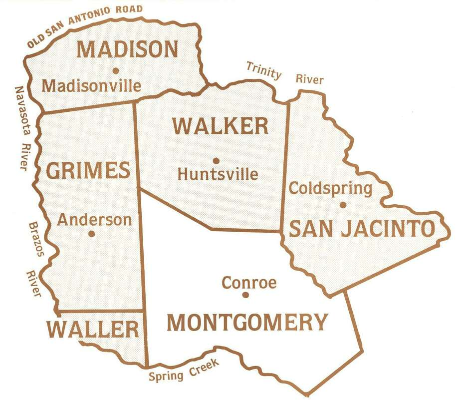 Original county boundaries of Montgomery County included Grimes, Walker, San Jacinto and a portion of Madison and Waller counties. Montgomery County was formed on Dec. 14, 1837. Map from the Montgomery County Historical Commission. Photo: Map From The Montgomery County Historical Commission