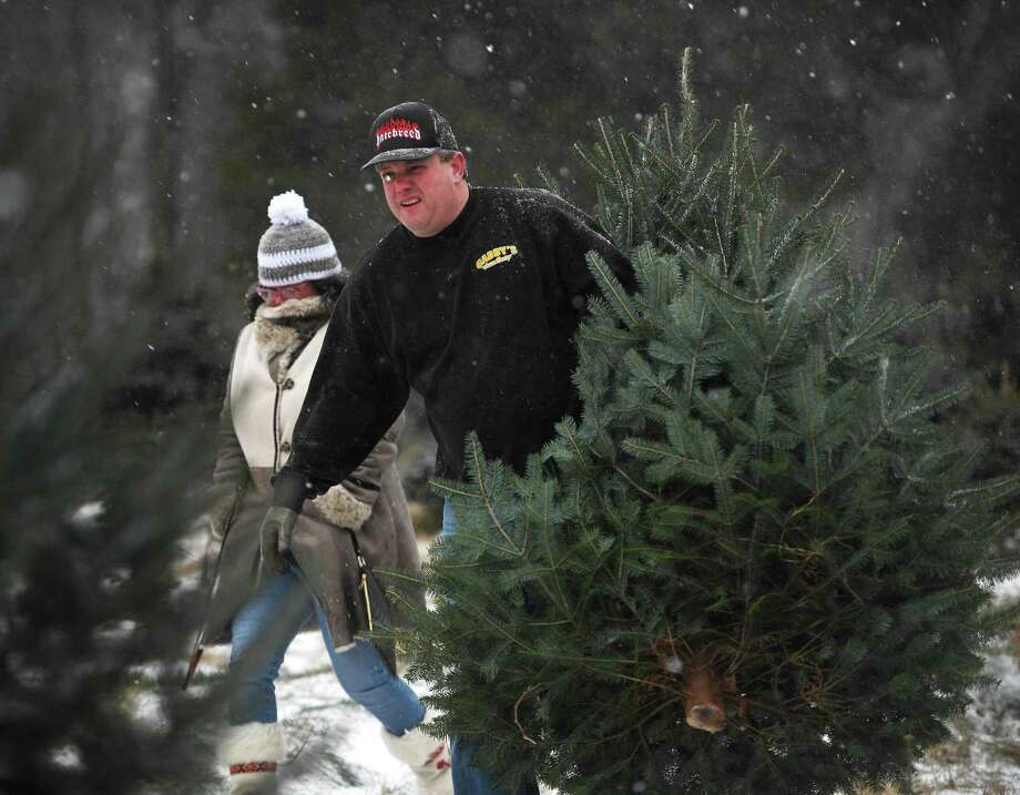 Kimberley Locke, of Danbury, and Jason Ingraham, of Oxford, brave the first snowfall of the season as they cut their own Christmas tree at Jones Family Farms in Shelton on Dec. 1. Locke, a singer, placed third in season two of American Idol. Photo: Brian A. Pounds / Hearst Connecticut Media / Connecticut Post