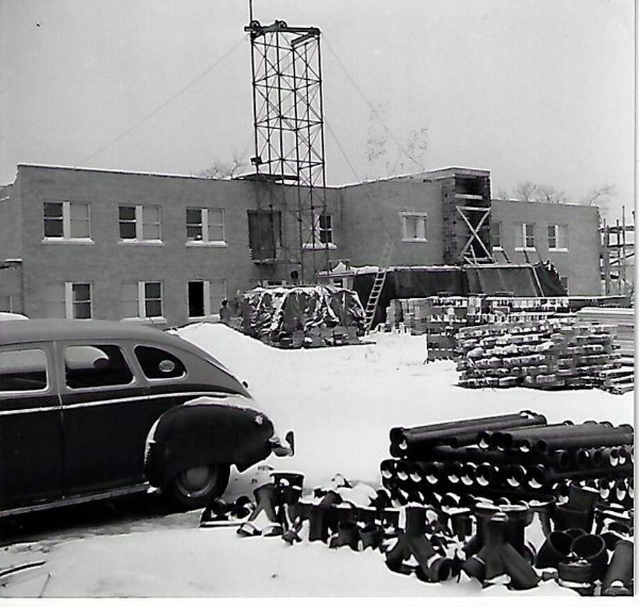 Beginning the construction of Paul Oliver Memorial Hospital in 1950. (Courtesy Photo/Benzie Area Historical Museum)