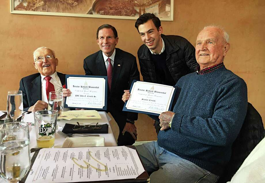 From left are John E. Cyrulik Sr., U.S. Sen. Richard Blumenthal, D-Connecticut; Mayor Ben Florsheim, and John Cyrulik's brother, 92-year-old Stanley Cyrulik. Both men were presented with a citation from Blumenthal in honor of their longevity, as well as their service in the Army. John Cyrulik served 44 months (from January 1942 to October 1945 in the South Pacific during WWII) and Stanley Cyrulik (from September 1946 to February 1948 in Korea). Photo: Contributed Photo