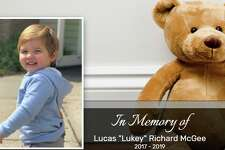 """A screenshot of the obituary for Lucas """"Lukey"""" Richard McGee, the 23-month-old boy fatally hit by a vehicle in New Canaan on Tuesday."""