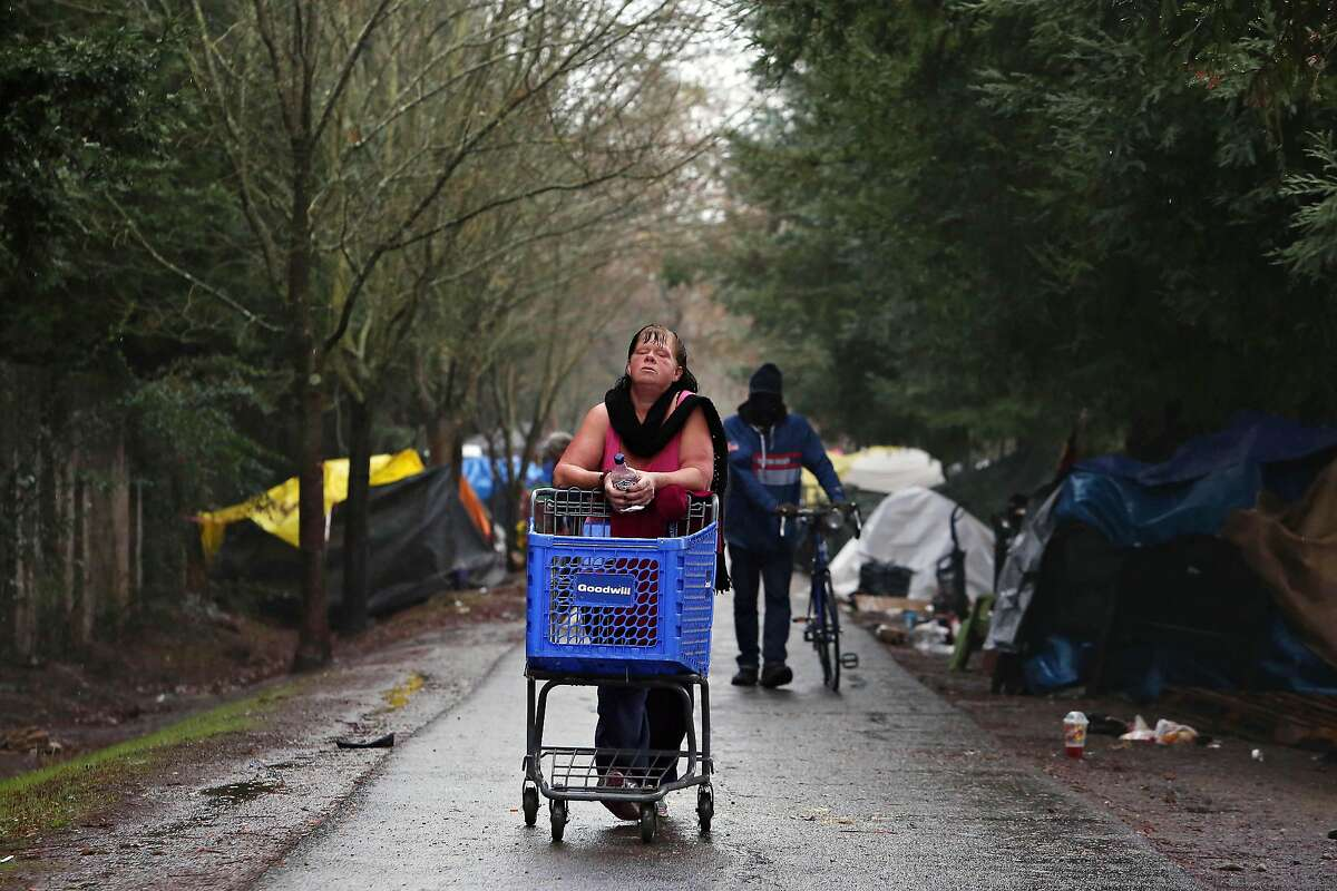 Lisa (who declined to give her last name) walks along the trail at the homeless encampment along the Joe Rodota Trail while pushing a shopping cart to pick up bones for some dogs at the encampment on Wednesday, December 11, 2019 in Santa Rosa, Calif.