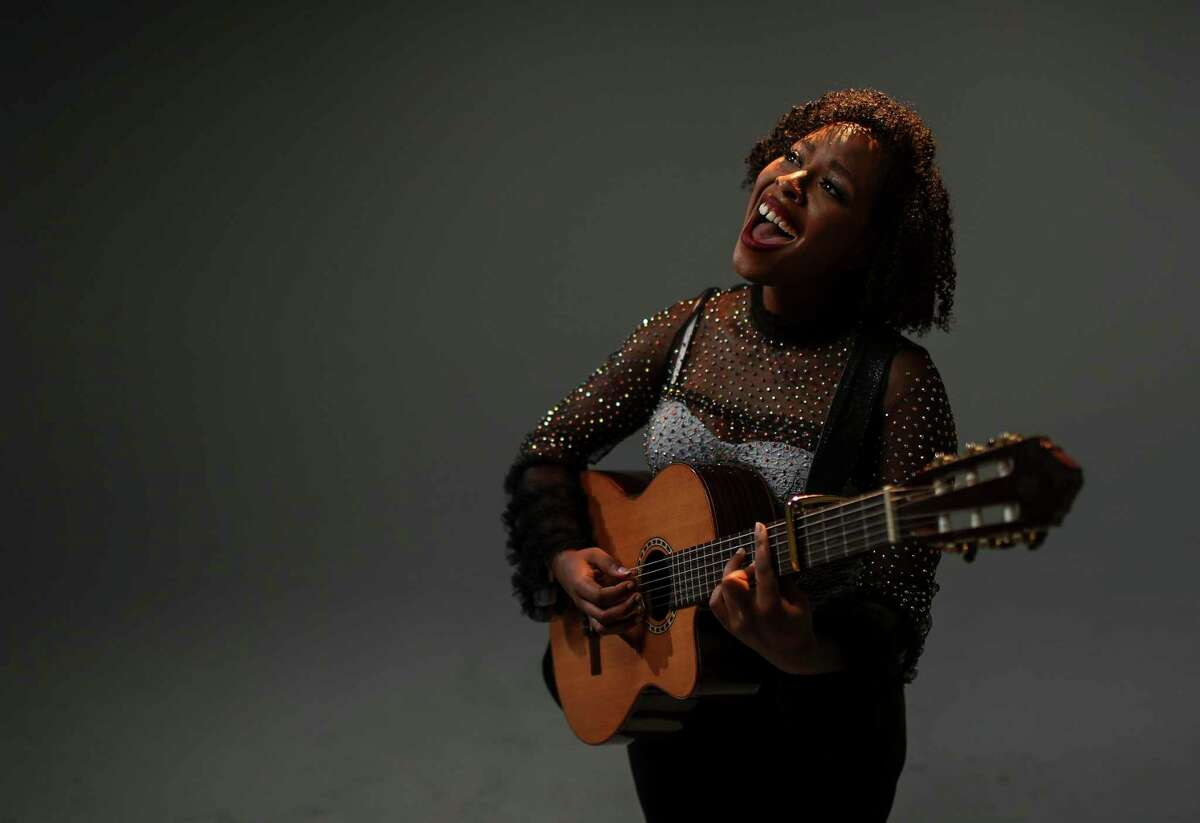 Kristal Cherelle, a Houston-based soul and pop artist, performs in the Houston Chronicle photo studio on Wednesday, Dec. 11, 2019, in Houston.