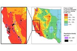 """The United States Geological Society released a study that incorporates the latest earthquake science findings into an update of the National Seismic Hazard Model for the """"lower-48"""" United States. The chloropleth map above classifies the data based on slight (or greater) damaging earthquake shaking, which is equivalent to Modified Mercalli Intensity VI, defined as: """"Felt by all, many frightened. Some heavy furniture moved; a few instances of fallen plaster. Damage slight."""""""