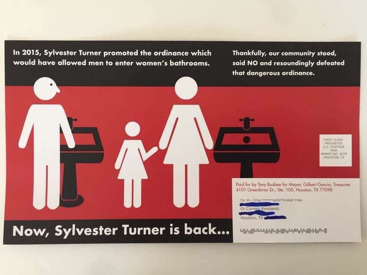 Mayoral candidate Tony Buzbee has sent out a last-minute mailer criticizing Mayor Sylvester Turner for supporting a 2015 ordinance that would have extended broad non-discrimination protections to members of the LGBTQ community, among others.