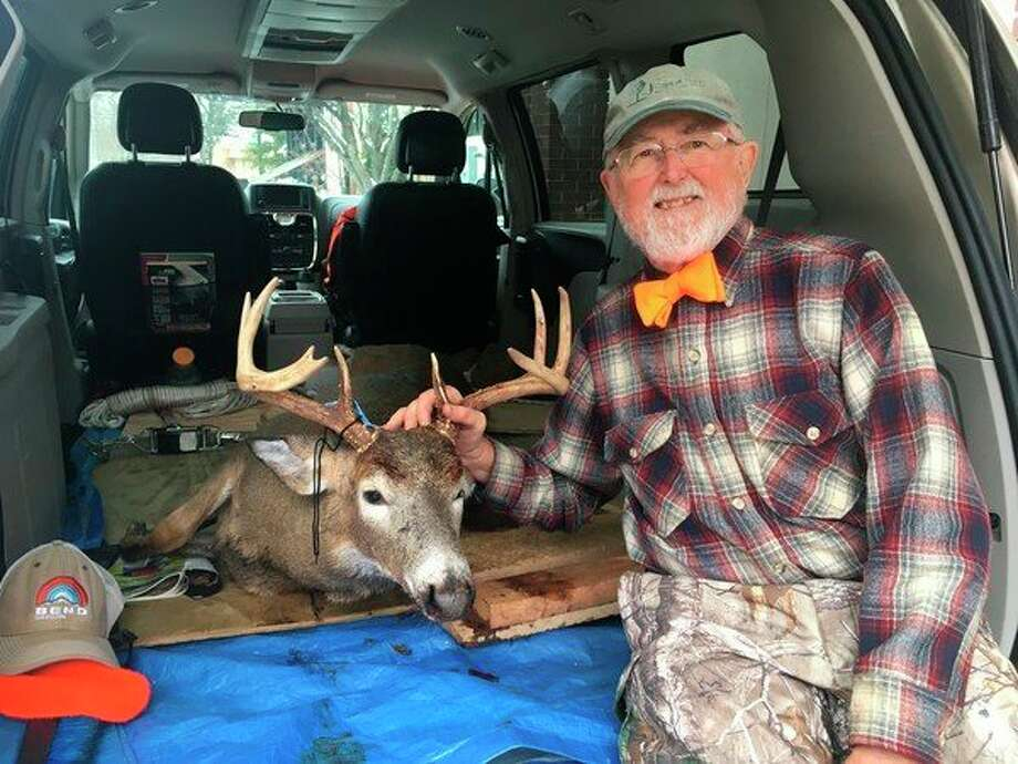 Robert Palmer, 78, of Big Rapids, bagged an 8-point buck with 15-inch rack span on Dec. 6. (Pioneer photo/Tim Rath)