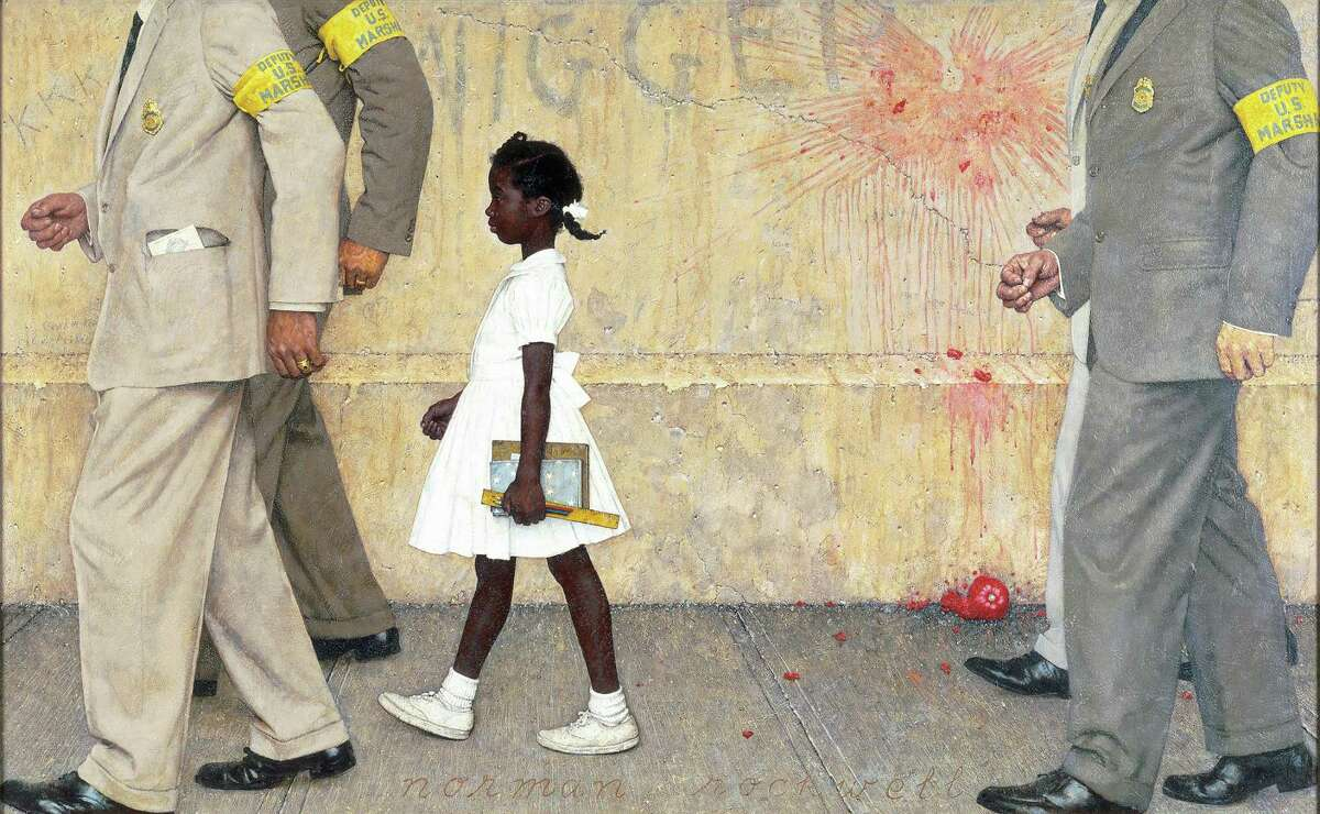 """""""The Problem We All Live With,"""" painted for Look magazine in 1963, is among the works in """"Norman Rockwell: American Freedom,"""" on view at the Museum of Fine Arts, Houston Dec. 15-March 22."""
