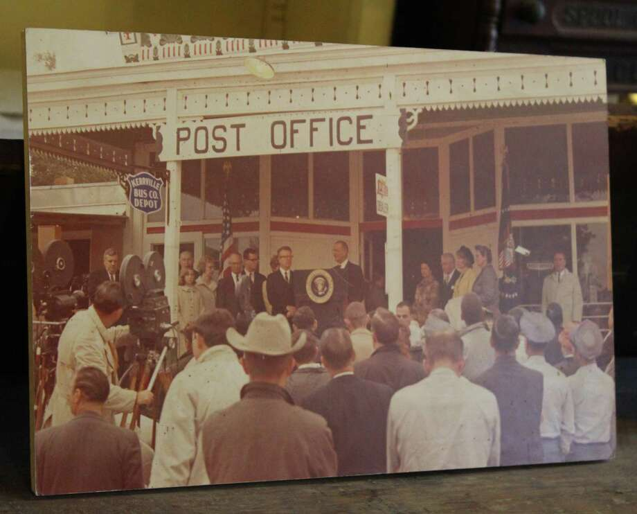 In 1965, President Lyndon B. Johnson used the front porch of the Hye Post Office as the setting for his appointment of Lawrence F. O'Brien as U.S. postmaster general. O'Brien later went on to serve as commissioner of the National Basketball Association. Photo: Staff File Photo
