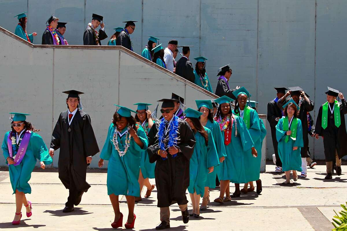 Graduates march in a processional for the commencement ceremony at Phillip and Sala Burton Academic High School in San Francisco, Calif. on Thursday, May 29, 2014. Graduates of this year's class are the first under the school district's new rigorous graduation requirements.