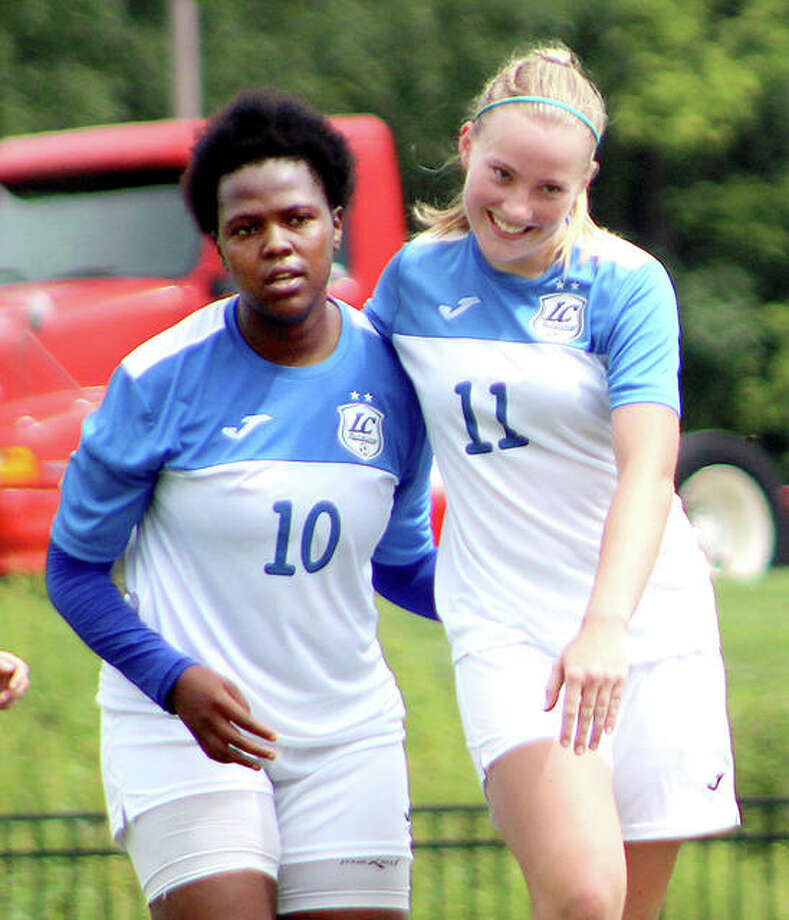 Lewis and Clark's Boitumelo Rabale, left, and teammate Candice Parziani received JUCO All-America honors Friday from United Soccer Coaches. Rabale was named to the first team and Parziani to the second team.