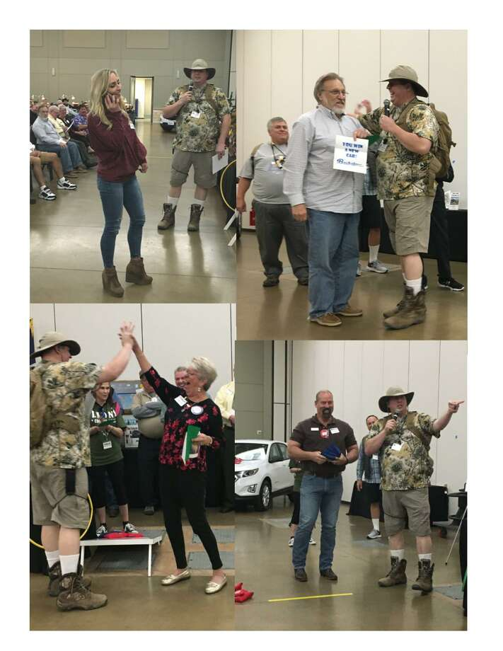 The Conroe Noon Lions Club - Annual Lucky Derby Car Raffle was full of excitement and shenanigans last week with Jeana Whitehead doing 'phone a friend', Suzanne Goetz giving a 'high five', James Boyd getting bag-tossing rules and Duayne Freeman revealing the winning envelope for a new Buckalew Chevrolet. Photo: Courtesy Photo