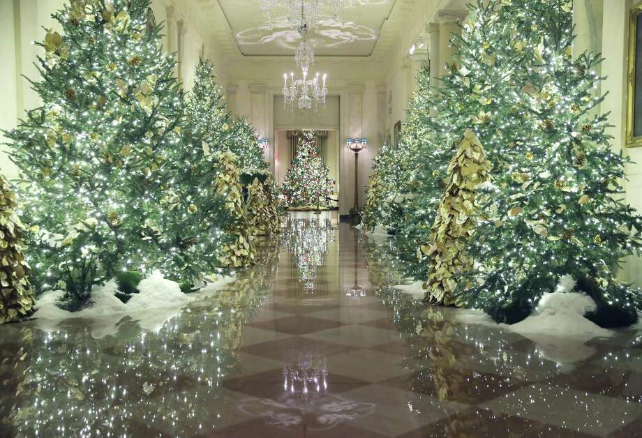 Christmas decorations are on display in the Grand Foyer of the White House on Dec. 2. The trees are festive, a mood the principal resident of the house is not likely to share with his impeachment vote likely next week. Photo: Mark Wilson /Getty Images / 2019 Getty Images