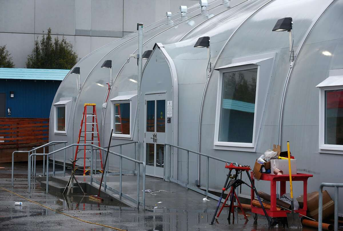 Construction is nearing completion on the homeless navigation center on The Embarcadero in San Francisco, Calif. on Thursday, Dec. 12, 2019.
