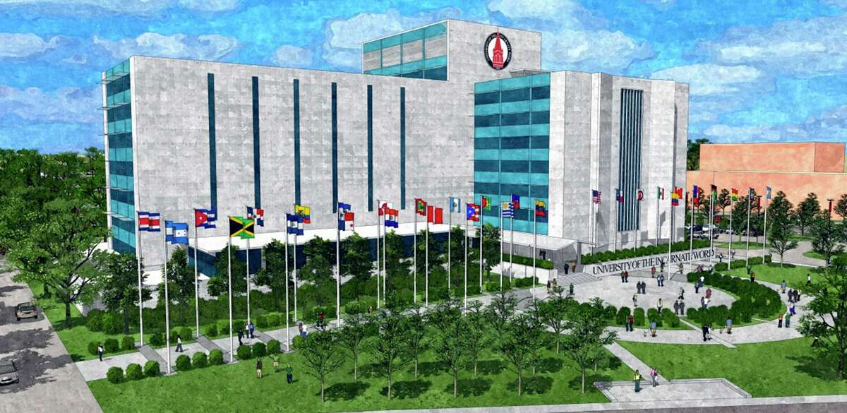 A rendering shows how the AT&T building will look after it is changed by UIW to Founders Hall. Before AT&T, the building was home to USAA.