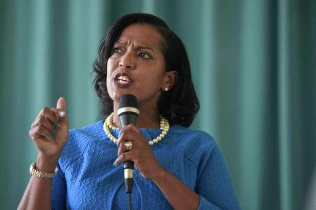 U.S. Rep. Jahana Hayes is battling education secretary Betsy DeVos.