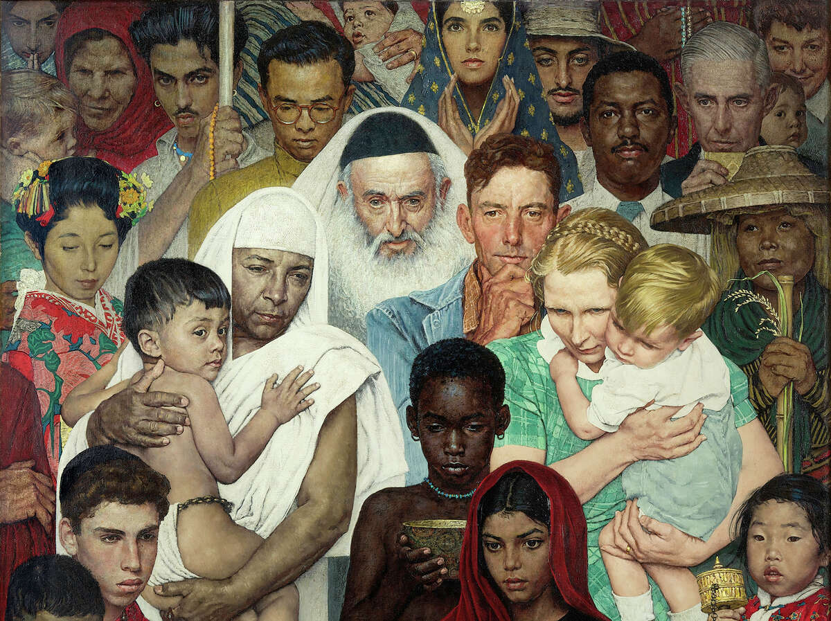 """Detail from Norman Rockwell's """"Golden Rule."""""""