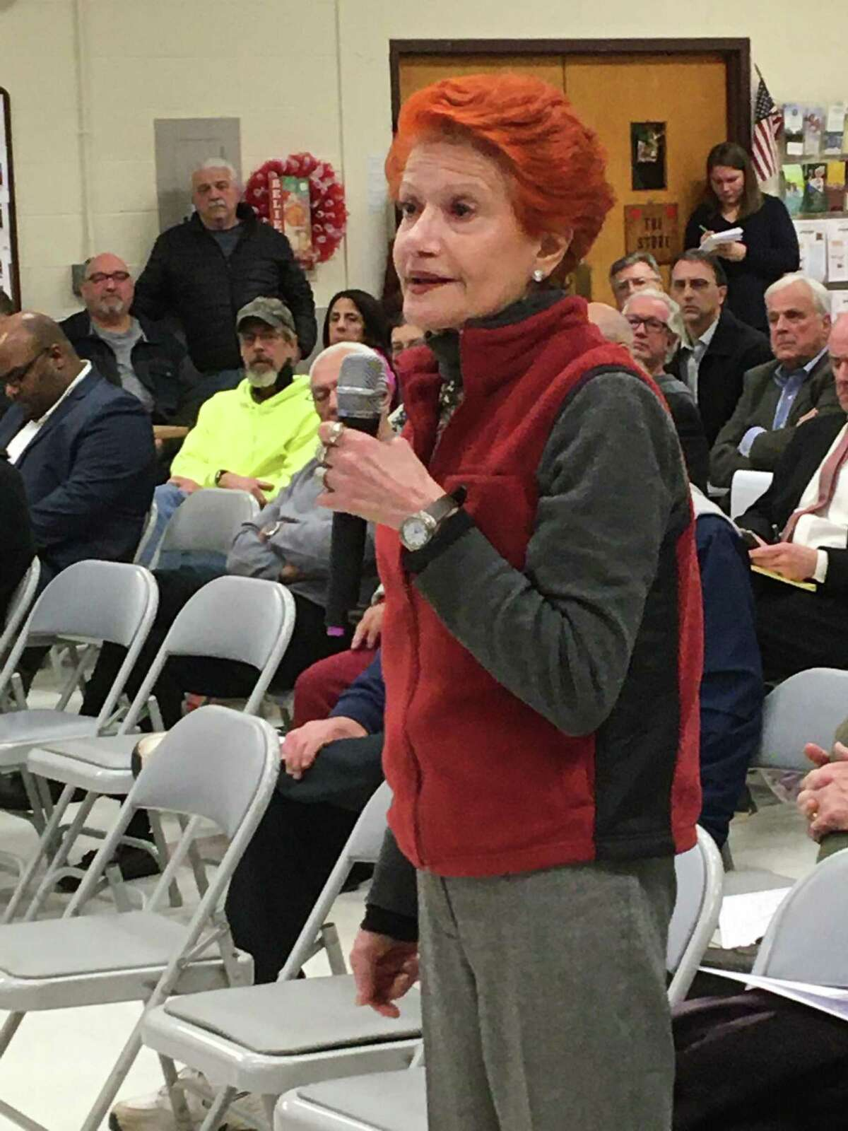 Fereshteh Bekhrad speaks Thursday night, Dec. 13, 2019, at the second public input on Tweed New Haven Regional Airport's upcoming master plan update at the East Haven Senior Center.