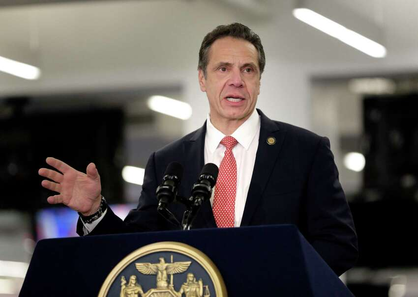 FILE - In this Feb. 14, 2019, file photo, Gov. Andrew Cuomo addresses the media in New York. New Yorka€™s Democratic governor wants neighboring states to work together on recreational marijuana policies that also address vaping products. Gov. Cuomo is set to travel to Connecticut Wednesday, Sept. 25, 2019, to meet with the statea€™s Democratic Gov. Ned Lamont. (AP Photo/Seth Wenig, File)