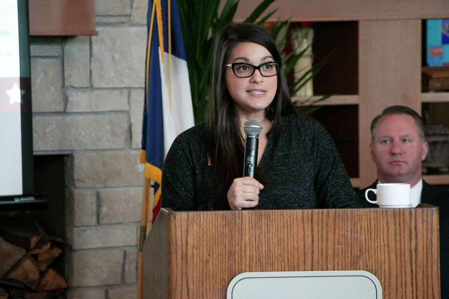 Erika Johnston, chair of the public affairs committee for the Lake Houston Area Chamber of Commerce, helped in leading the formal portion of the Elected Officals Reception on Dec. 13. Photo: Savannah Mehrtens/Staff Photo / Savannah Mehrtens/Staff Photo