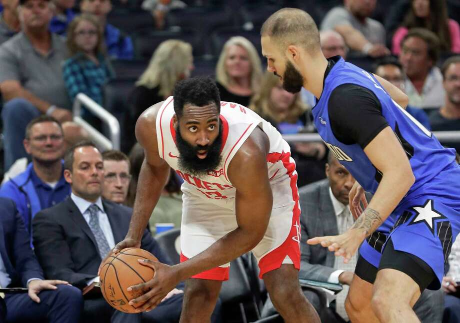 Houston Rockets' James Harden, left, looks for a way past Orlando Magic's Evan Fournier during the first half of an NBA basketball game, Friday, Dec. 13, 2019, in Orlando, Fla. (AP Photo/John Raoux) Photo: John Raoux, Associated Press / Copyright 2019 The Associated Press. All rights reserved