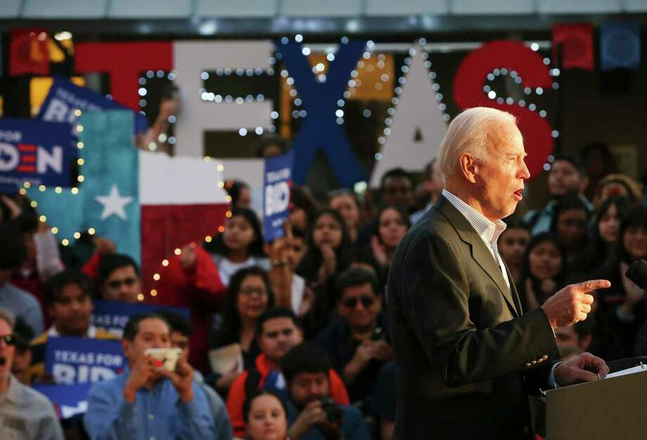 Former Vice President Joe Biden makes a stop in San Antonio for a community event at La Villita en route to a private fundraiser in Terrell Hills on Friday, Dec. 13, 2019. A crowd of supporters along with local politicians fill Plaza Juarez for the event. A small group of Trump supporters were also on hand but mostly ignored by the pro-Biden crowd. Photo: Kin Man Hui /Staff Photographer / **MANDATORY CREDIT FOR PHOTOGRAPHER AND SAN ANTONIO EXPRESS-NEWS/NO SALES/MAGS OUT/ TV OUT