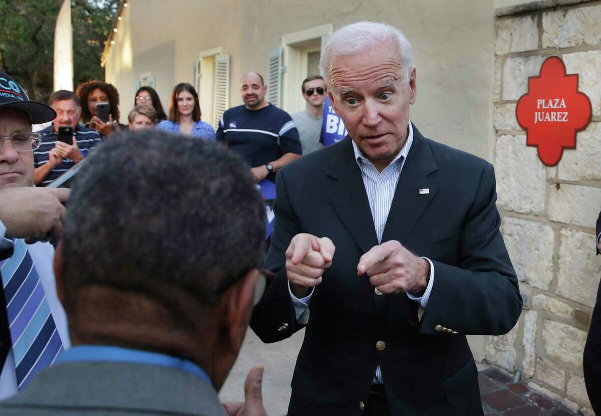 Vice President Joe Biden, Democrat Presidential Candidate interacts with a supporter during a rally at La Villita in San Antonio on Friday, Dec. 13, 2019.