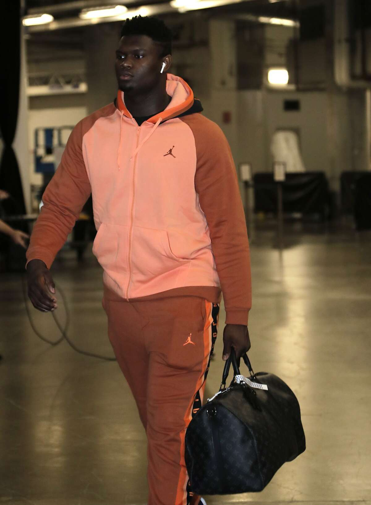 New Orleans Pelicans forward Zion Williamson arrives for an NBA basketball game against the Miami Heat, Saturday, Nov. 16, 2019, in Miami. (AP Photo/Lynne Sladky)