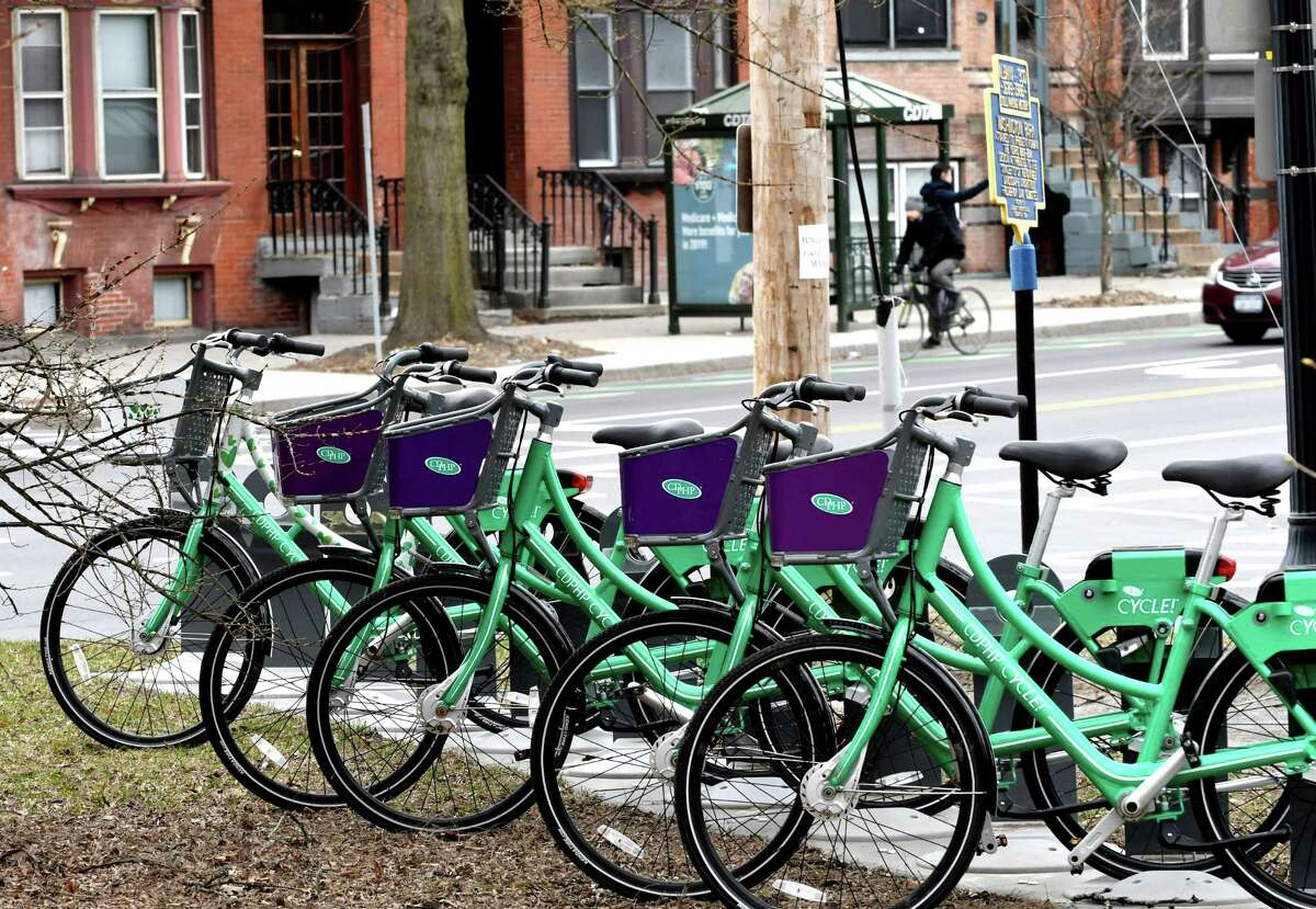 The CDPHP Cycle! bike-share program is open for the season again on Friday, April 5, 2019, at Washington Park in Albany, N.Y. The bicycles are available for rent at dozens of hubs in Albany, Schenectady, Troy, and Saratoga Springs. Details on how to use them can be found at cdphpcycle.com. (Will Waldron/Times Union)