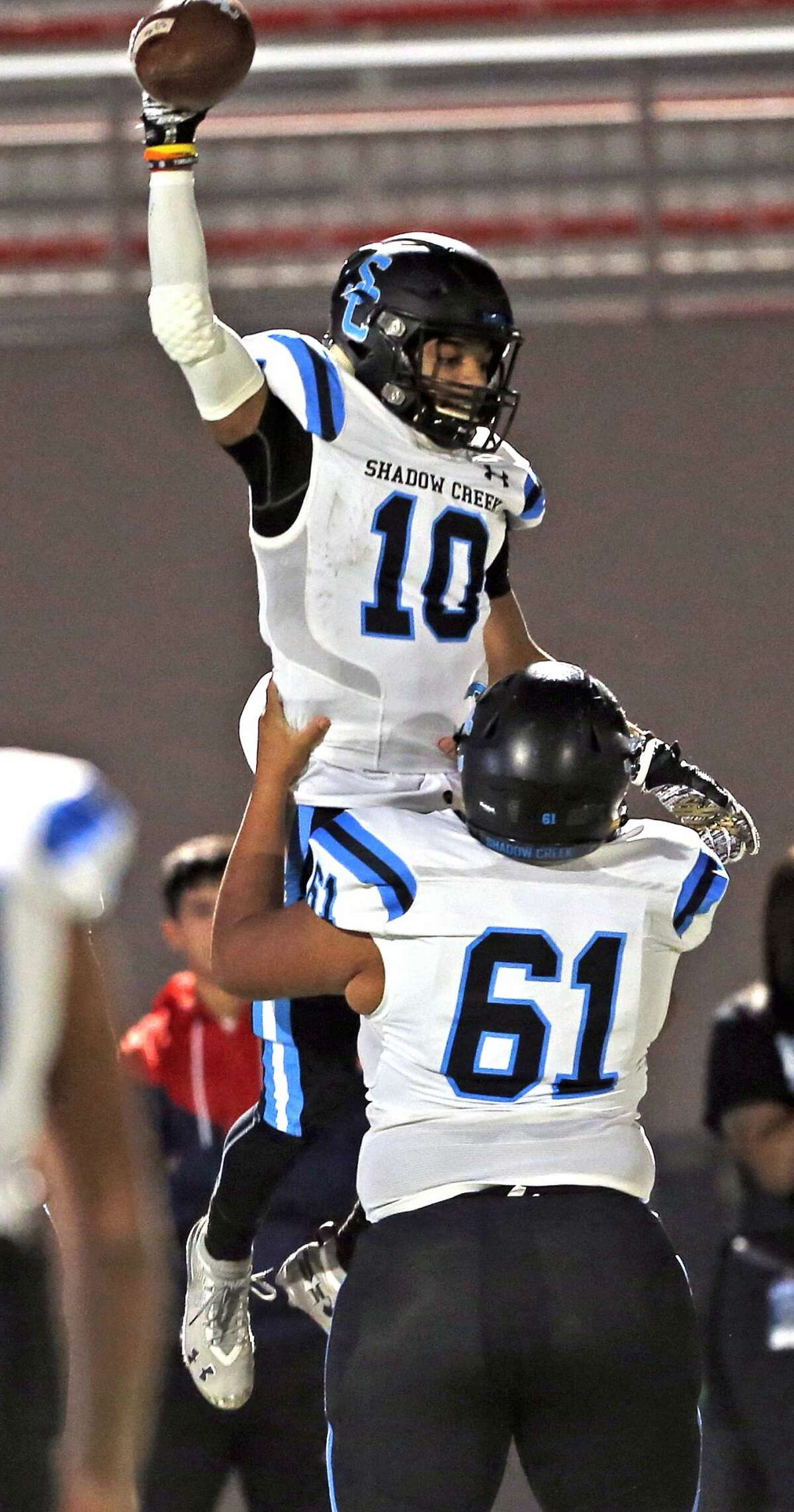 Wagner Shadow Creek wide receiver Greg Hancock celebrates his touchdown in first half action for Class 5A Division I state semiifinal at the Alamo Stadium on Friday, December, 13, 2019. Score at halftime Shadow Creek 24 Wagner 21.