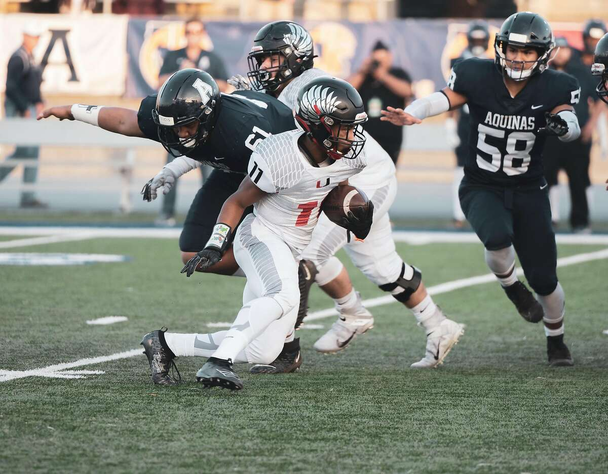 Clayton Valley tailback Omari Taylor was held to only 51 yards on 27 carries, but scored the Eagles' only TD - a 1-yard run - in a 10-7 state 2-AA defeat of Aquinas-San Barnardino.