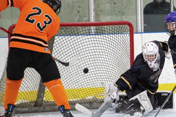 Bethlehem defender Jonathan Thibodeau scores in front of CBA goalie Josh Coburn during the Capital District High School Hockey League opener for both teams at the Albany County Hockey Facility in Colonie on Friday, Dec. 13, 2019 (Jim Franco/Special to the Times Union.)